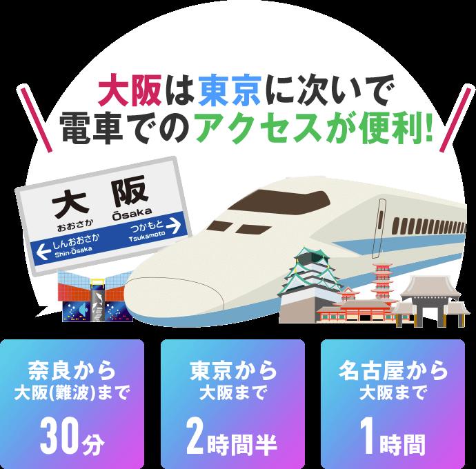 大阪は東京に次いで電車でのアクセスが便利!